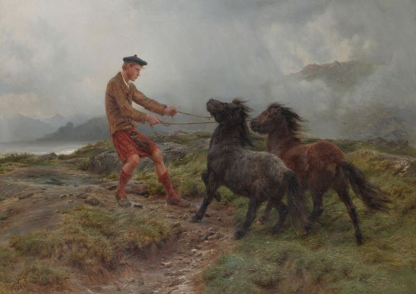 Bonheur, Rosa: A Ghillie and Two Shetland Ponies in a Misty Landscape. Fine Art Print/Poster. Sizes: A4/A3/A2/A1 (001596)